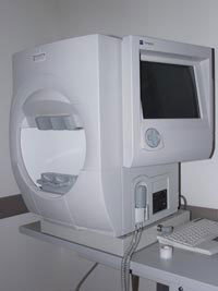 A visual field machine used for testing glaucoma patients
